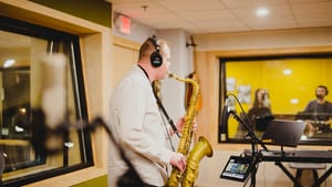 A new place to capture your sound: A recording session at MNYK Studios. (Photo by Kristen Humphries.)