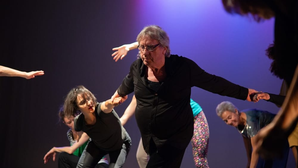A life spent dancing: Manfred Fischbeck on stage with members of Group Motion. (Image courtesy of Group Motion.)