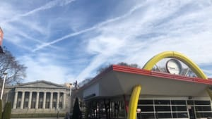 This Broad Street McDonald's was the perfect dinner spot for the CAPA students pouring past the pillars across the street. (Photo by Alaina Johns.)