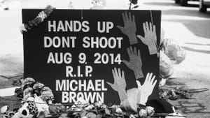 A memorial to Michael Brown during the Ferguson protests. (Photo by Jamelle Bouie via Creative Commons/Flickr)