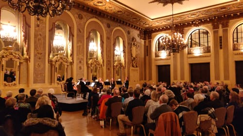 This elegant room favors higher strings: the DSO chamber ensemble at the Gold Ballroom. (Photo courtesy of Delaware Symphony Orchestra.)