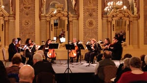 An instrumental monument: The DSO string players in Mendelssohn's Octet. (Photo courtesy of Delaware Symphony Orchestra.)