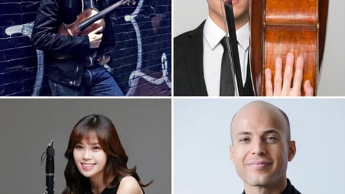 Messiaen performers (clockwise from left) Stefan Jackiw, Jay Campbell, Orion Weiss, and Yoonah Kim. (Photos by Sophia Zhai, Beowulf Sheehan, Jacob Blickenstaff, and Yi-Suk Jang.)