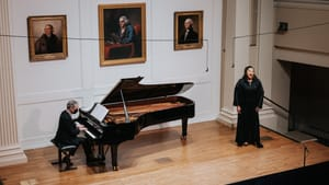 An elegant and deeply felt performance from Benjamin Franklin Hall: pianist Brian Zeger and soprano Michelle Bradley at PCMS. (Photo by Matt Genders.)