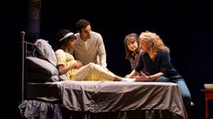 This premise doesn't lack dramatic potential: Monique Robinson, Ryan George, Grace Experience, and Ellen McLaughlin in 'Midwives.' (Photo by T. Charles Erickson.)
