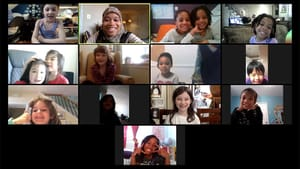 A class of distance-learning youngsters enjoy a virtual session with Mighty Writers. (Image courtesy of Mighty Writers.)