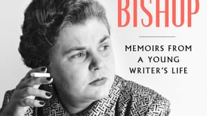 The book cover, with a b&w photo of Miss Bishop in her 50s, smoking a cigarette at a desk, wearing a patterned shirt