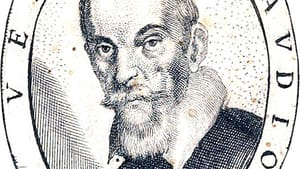 Portrait of Claudio Monteverdi, from the title page of 'Fiori poetici,' a 1644 book of commemorative poems for his funeral. (Image via Creative Commons/Wikipedia.)