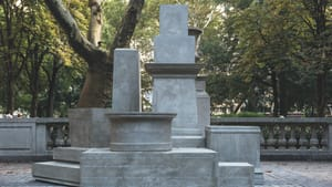 Noting exclusions in Philly monuments: Sharon Hayes's 2017 'If They Should Ask,' part of Monument Lab. (Photo by Steve Wenik, courtesy of Temple University Press.)