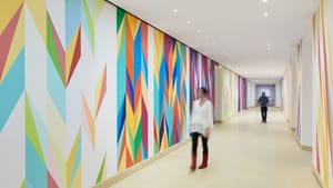 The threshold to the new gallery: Odili Donald Odita's 'Walls of Change.' (Image courtesy of the artist and Philadelphia Museum of Art, 2021.)