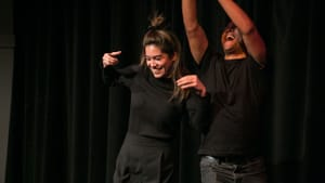 Life's ultimate goal: writer Kelly Conrad (left) performs with an improv teammate in 'Not Yet Rated.' (Image courtesy of Kelly Conrad.)