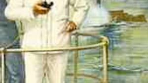 Dewey on the 'Olympia' bridge, Manila, 1898: 'Fire when— glug glug— ready, Gridley.'