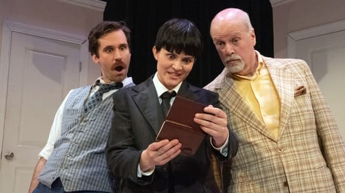 It's not hard to deduce this farce: Sean Close, Hanna Gaffney, and Paul Hebron in 'One Man, Two Guvnors.' (Photo by Linda Johnson.)