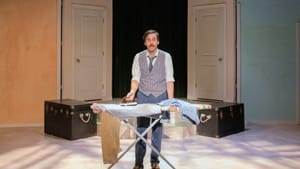 Not experimental, but it doesn't have to be: Sean Close in 'One Man, Two Guvnors.' (Photo by Linda Johnson.)