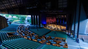 Well-ventilated players: the Philadelphia Orchestra is recording performances at the Mann. (Photo by Jeff Fusco.)