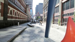 PAFA's Cherry Street walkway (image via Wikimedia Commons)