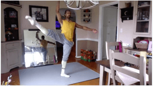 An anonymous donor provided dance surfaces to homebound artists, like the PA Ballet's Jermel Johnson, here practicing at home during the pandemic. (Image courtesy of PA Ballet.)