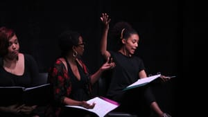Stories about sisterhood: Nicole Stacie, Nancy Marie, and Ashley Davis in PWFT's one-acts. (Photo by Kristin Curley.)