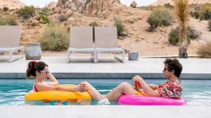 Unflappable in the face of the same day: Andy Samberg and Cristin Milioti as Nyles and Sarah in Hulu's 'Palm Springs.' (Image courtesy of Hulu.)