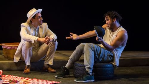 Ryan Hallahan and Julian Parker in Steppenwolf's production of 'Pass Over.' (Photo by Michael Brosilow)