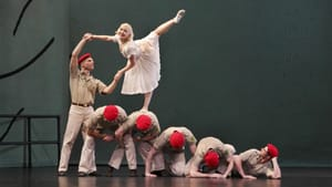 Military occupation as a backdrop for romance: the Paul Taylor ensemble in 'Sunset.' (Photo by Paul B. Goode.)