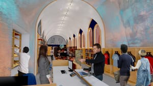 Penn Museum's Shop will move closer to the museum café, making room for a new Crossroads of Cultures Gallery. (Rendering by Josh Lessard, Penn Museum.)