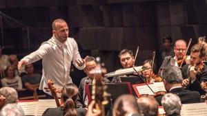 Yannick Nézet-Séguin leads the orchestra in Tchaikovsky's Fourth Symphony at the Haifa Auditorium. (Photo by Jan Regan.)