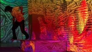 A skater tries out a dizzying digital landscape at the original Phenomenal Radness. (Photo courtesy of the Pearlstein Gallery.)