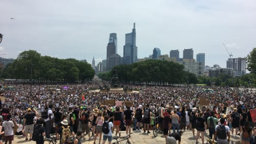 Philadelphia's forward-looking contingent turns out to be a pretty big crowd. (Photo by Dillon Minacci.)