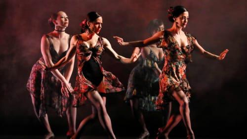 South American flair: the Paul Taylor ensemble in 'Piazzola Caldera.' (Photo by Paul B. Goode.)