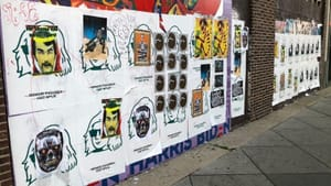 When Minor Figures blanketed Philly street art with oat milk ads, including on this South Broad Street mural, Philly artists quickly reclaimed the space. (Photo by Praise Dobler.)