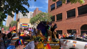 Pride is almost always a colorful, crowded spectacle: a view of Philly's 2019 Pride Parade. (Photo by Carrie Borgenicht.)