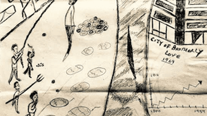 The trees in summer 1959 bore strange fruit. (Drawing courtesy of Reginald McFadden, Attica prison)
