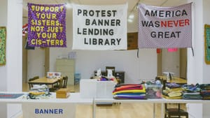 The Protest Banner Lending Library during its time at the Chicago Cultural Center. (Photo courtesy of Aram Han Sifuentes.)
