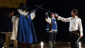 Swashbuckling and all-for-onesing: Michael Brusasco (as Athos), Alan Brincks (as Aramis), Gregory Isaac (as Porthos), and Connor Hammond (as d'Artagnan). (Photo by Alexander Iziliaev)