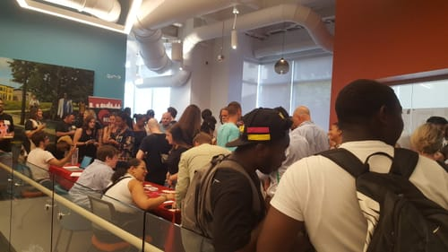 An excited crowd turned up to hear the news from REC Philly. (Photo by Suzanne Cloud.)