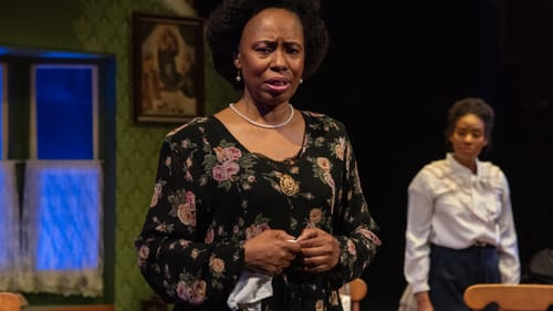 Poised and regal: Zuhairah McGill as Mrs. Loving, with Jessica Johnson as Rachel. (Photo by Linda Johnson.)