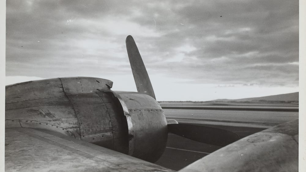 Ralston Crawford's 1945 'Plane Propeller on Tarmac. (Courtesy of the Vilcek Collection.)