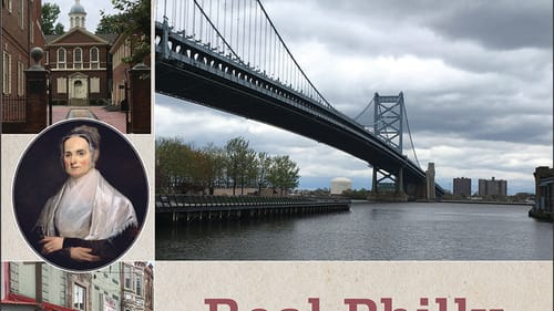 The book cover, with photos of the Ben Franklin Bridge, Chinatown gateway, the Italian Market, and a historic brick building