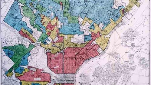 The effects of America's redlining conspiracy echo today. (1937 map of Philadelphia redlining via Wikimedia Commons.)