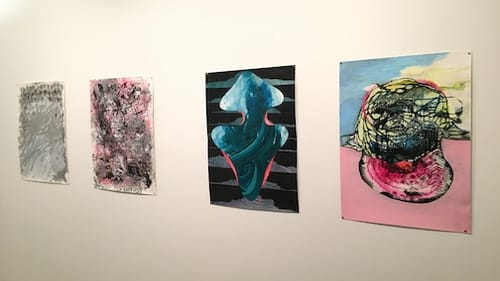 McFarlane and Rodriguez installation. L to R: First two by Tim McFarlane, second two by Miguel Rodriguez. (Photo by Jennifer Zarro.)