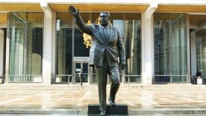 Back when bronze was here to stay: the statue of Frank Rizzo before its removal earlier this summer. (Photo by Caitlin Martin, courtesy of the Association for Public Art.)
