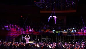 Aerial work was an especially good fit for 'Romeo and Juliet': Julia Higdon and Teddy Fatscher with the Philadelphia Orchestra. (Photo by Pete Checchia.)