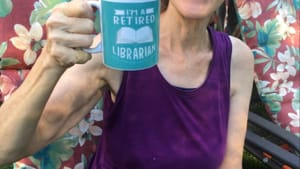 It's not what she expected, but Roz is raising a mug to retirement. (Image courtesy of the author.)