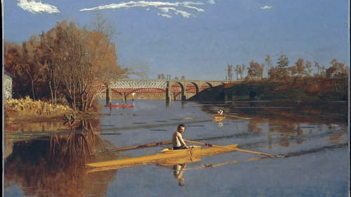 Thomas Eakins is among many famous Philadelphia-born artists to study in Paris. He painted 'Max Schmitt in a Single Scull' in 1871, shortly after his return to the States. (Image courtesy of the Metropolitan Museum of Art.)