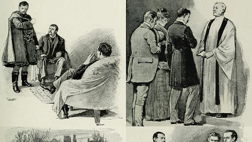 A collage of dramatic pen & ink drawings showing late 19th-century men including a king, a priest, commoners, and soldiers.