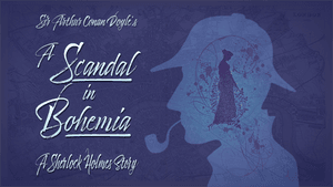 The show logo. The title in cursive at left & a pipe-smoking man's profile at right, with a woman's silhouette superimposed