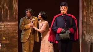 L to R: Dougherty, Duchovnay, and Anderson, whose Schicchi makes a notable appearance in a Gilbert-and-Sullivan-style getup.  (Photo by Joe del Tufo, Moonloop Photography.)