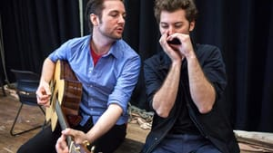 """Peter Oyloe (left) plays Paul Clayton, while Jared Weiss is Bob Dylan in """"Search: Paul Clayton."""" (photo by Julia Cumes)"""