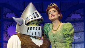 Celebrating love in all shapes and sizes: Nichalas L. Parker and Julia Udine as Shrek and Fiona at the Walnut. (Photo by Mark Garvin.)